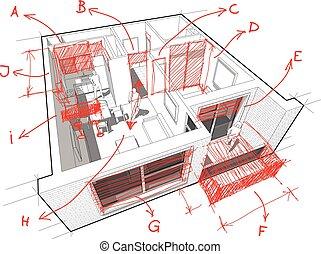 dessiné, main, architect`s, notes, appartement, diagramme