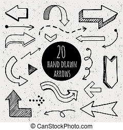 dessiné, main, arrows.