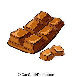 dessiné, main, barre, illustration, chocolat