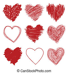 dessiné, main, cœurs