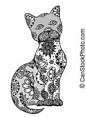 dessiné, main, chat