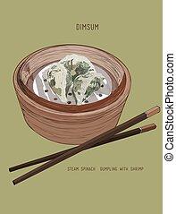 dessiné, main, chinois, dumplings.