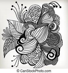 dessiné, main, conception, zentangle