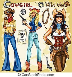 dessiné, main, cowgirls, collection.