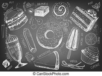dessiné, main, délicieux, desserts