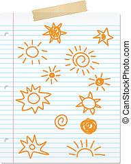 dessiné, main, doodles, soleil