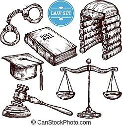 dessiné, main, droit & loi, ensemble