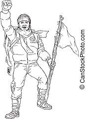 dessiné, main, grimpeur, montagne