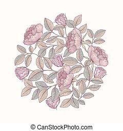 dessiné, main, jardin, rose