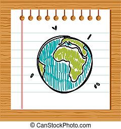 dessiné, main, la terre