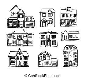 dessiné, main, maisons