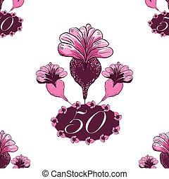 dessiné, main, painterly, anniversaire, anniversaire, fleurs, 50th, floral, cadre, fifthieth, design., number., beau, ou, modèle, arrière-plan., seamless, rose, ovale, toile de fond, reprise, célébration