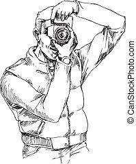 dessiné, main, photographe