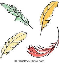 dessiné, main, plumes, paques
