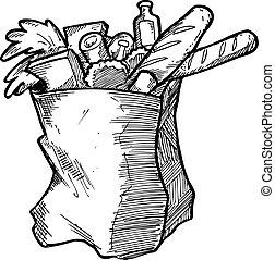 dessiné, main, sac à provisions