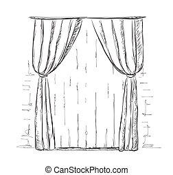 dessiné, main, sketch., rideaux