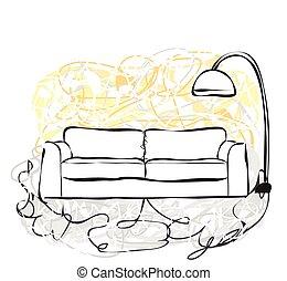 dessiné, main, sofa