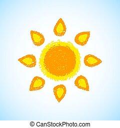 dessiné, main, soleil