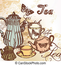 dessiné, main, thé, fond