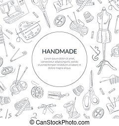 dessiné, modèle, bannière, couture, gabarit, fait main, fournitures, tailleur, main, atelier, magasin, vecteur, illustration, seamless, élément
