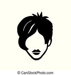 dessiné, mode, main, icône