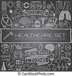 dessiné, monde médical, ensemble, main, icônes