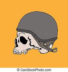 dessiné, motard, jaune, crâne, main