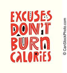 dessiné, motivation, slogan, fitness, main