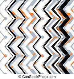dessiné, multicolore, main, zigzag, modèle