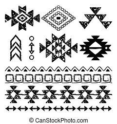 dessiné, navajo, retro, copie main