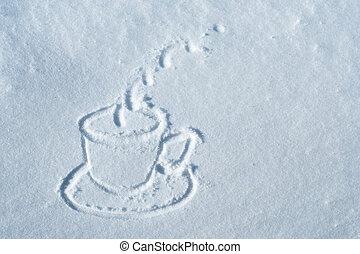 dessiné, neige, tasse