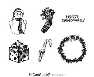 dessiné, objets, noël, main