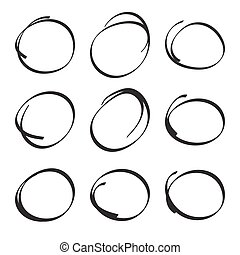 dessiné, ovales, ensemble, main