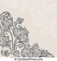 dessiné, paisley, ornament., main