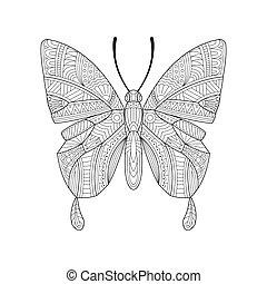 dessiné, papillon, main