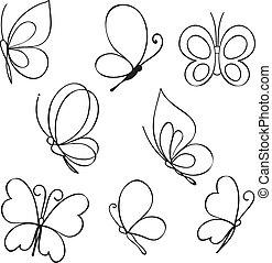 dessiné, papillons, ensemble, main