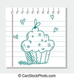 dessiné, petit gâteau, main
