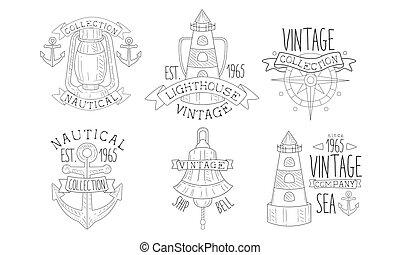 dessiné, phare, illustration, collection, nautique, compagnie, retro, main, vendange, navigateur, insignes, mer, étiquettes, vecteur