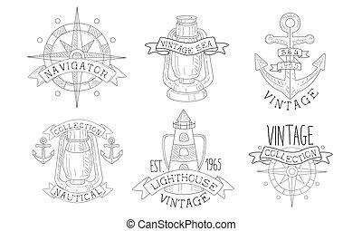 dessiné, phare, illustration, collection, nautique, retro, main, vendange, navigateur, insignes, mer, étiquettes, vecteur