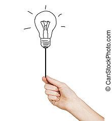 dessiné, possession main, ampoule, lumière