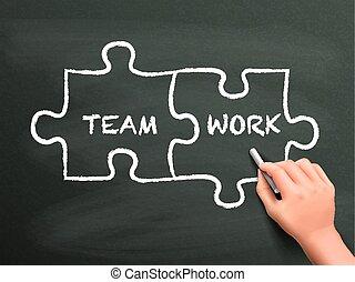 dessiné, puzzle, concept, collaboration, main