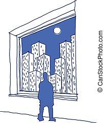 dessiné, regarder, main, homme, croquis, par, ville, fenêtre, entiers, gratte-ciel