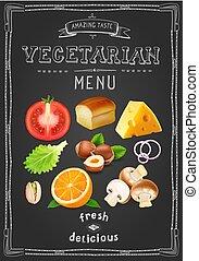 dessiné, salade, orange, menu, végétarien, champignons, fou, vecteur, conception, vendange, chalkboard., tomate, fruits., légumes, fromage