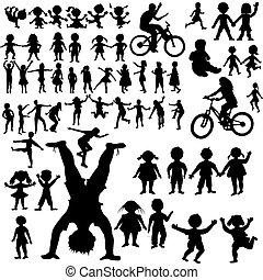 dessiné, silhouettes, enfants, collection, main