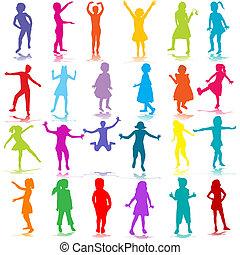 dessiné, silhouettes, enfants, main