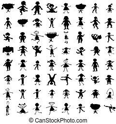 dessiné, silhouettes, ensemble, enfants, main
