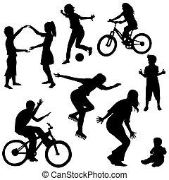 dessiné, silhouettes, jouer, enfants, main