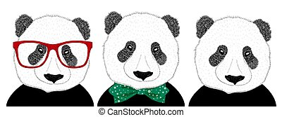 dessiné, style, set., homme, tête, panda, main, girl, arc, 60s, cravate, illustration