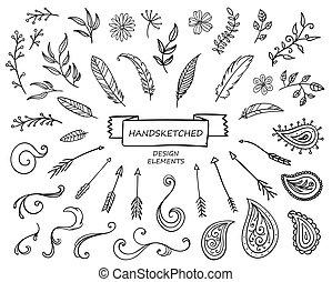 dessiné, vecteur, éléments conception, main