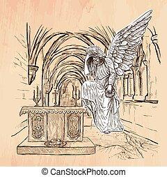 dessiné, vecteur, -, ange, main